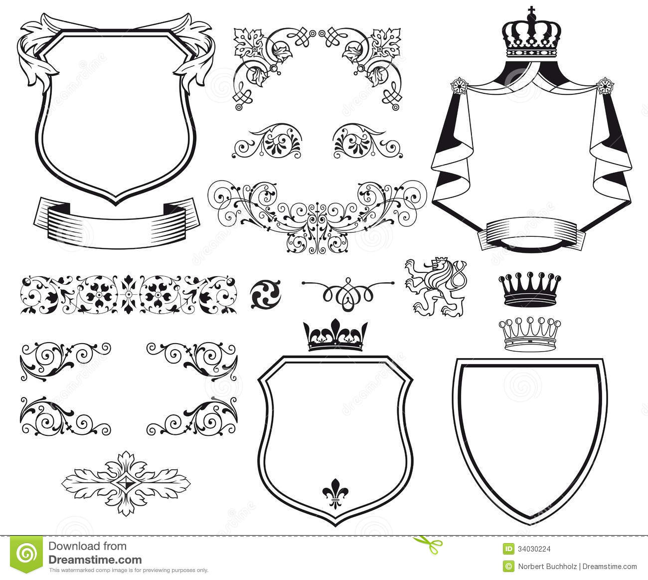 Heraldic Coat Of Arms Stock Vector Illustration Of Fancy 34030224