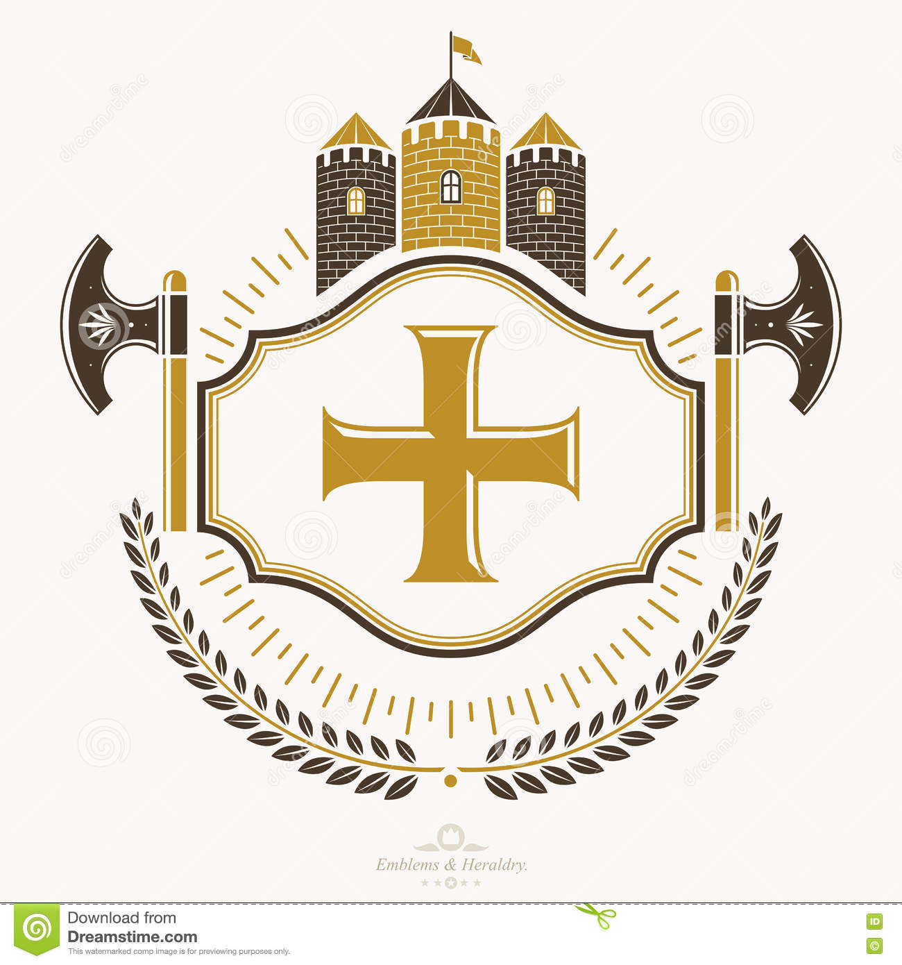 heraldic coat of arms vintage emblem stock illustration