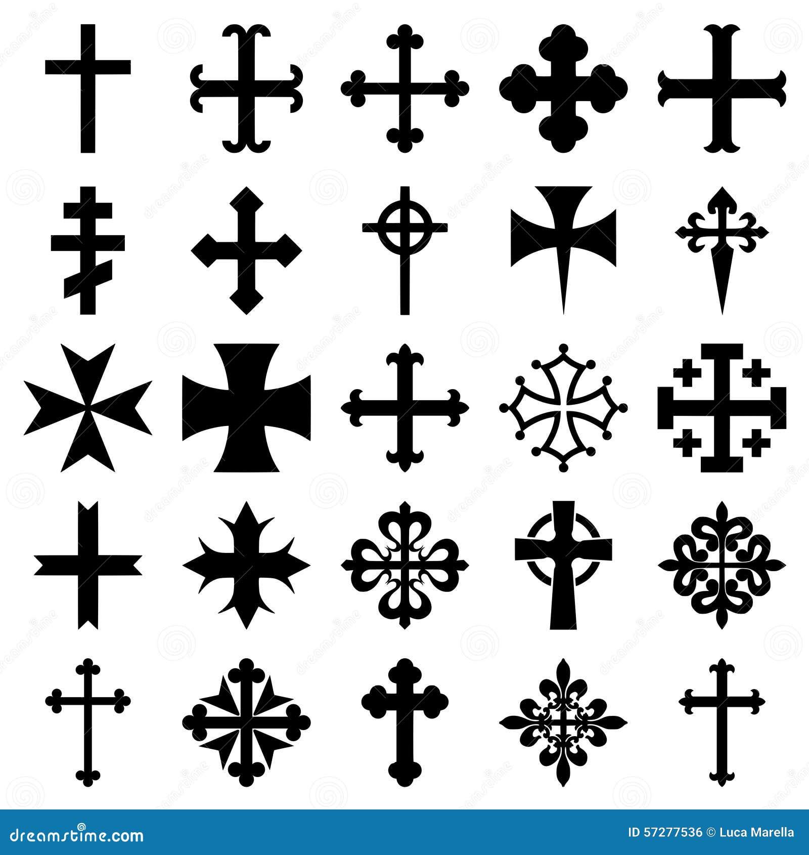 Heraldic crosses icons set