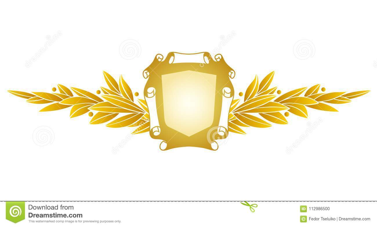 Heraldic decorative label with floral elements