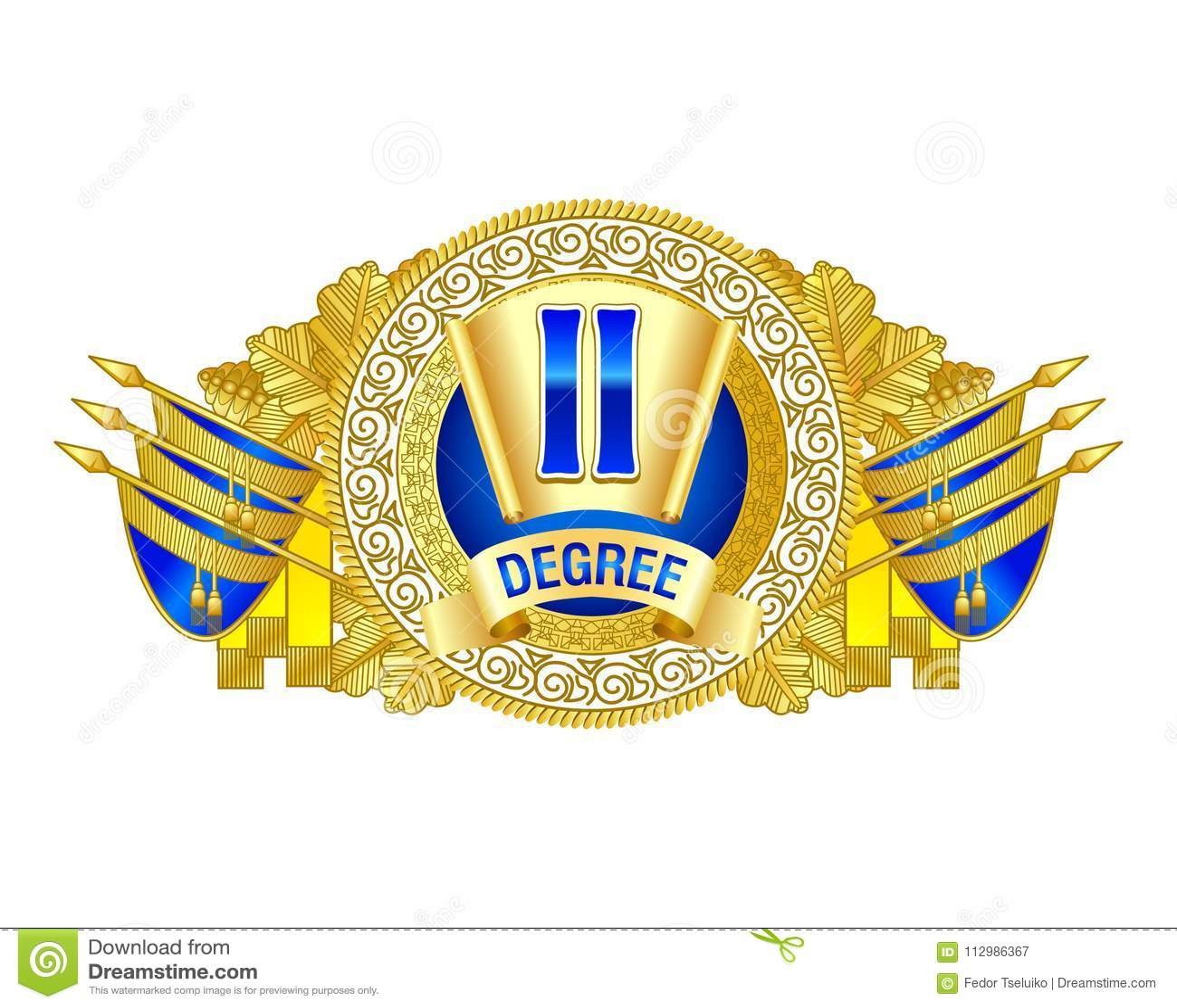 Heraldic decorative label of second degree.