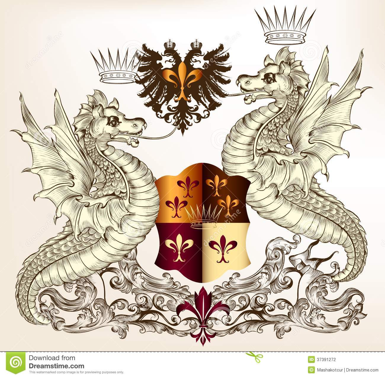 Dragon Heraldry: Heraldic Design With Dragons And Shield Stock Vector