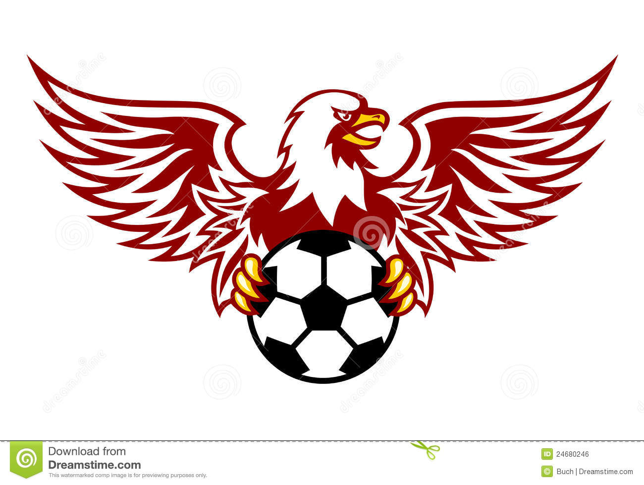 Heraldic eagle with ball stock vector. Illustration of ...