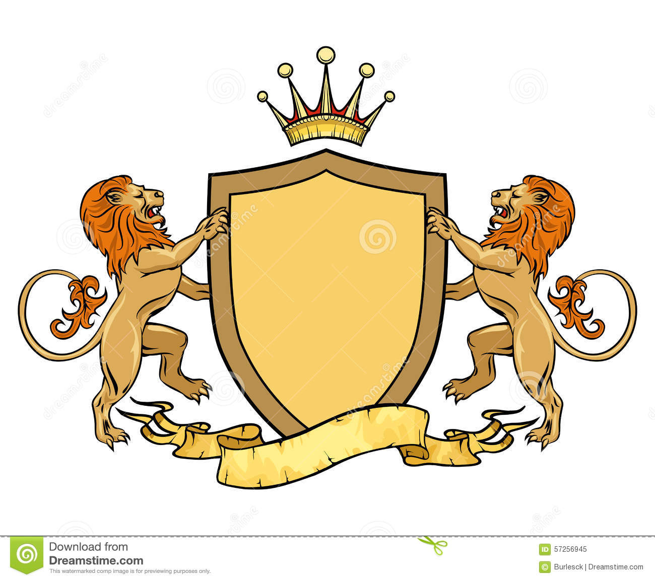 Heraldic Lions With Shield And Ribbon. Emblem Or Stock Vector - Image ...