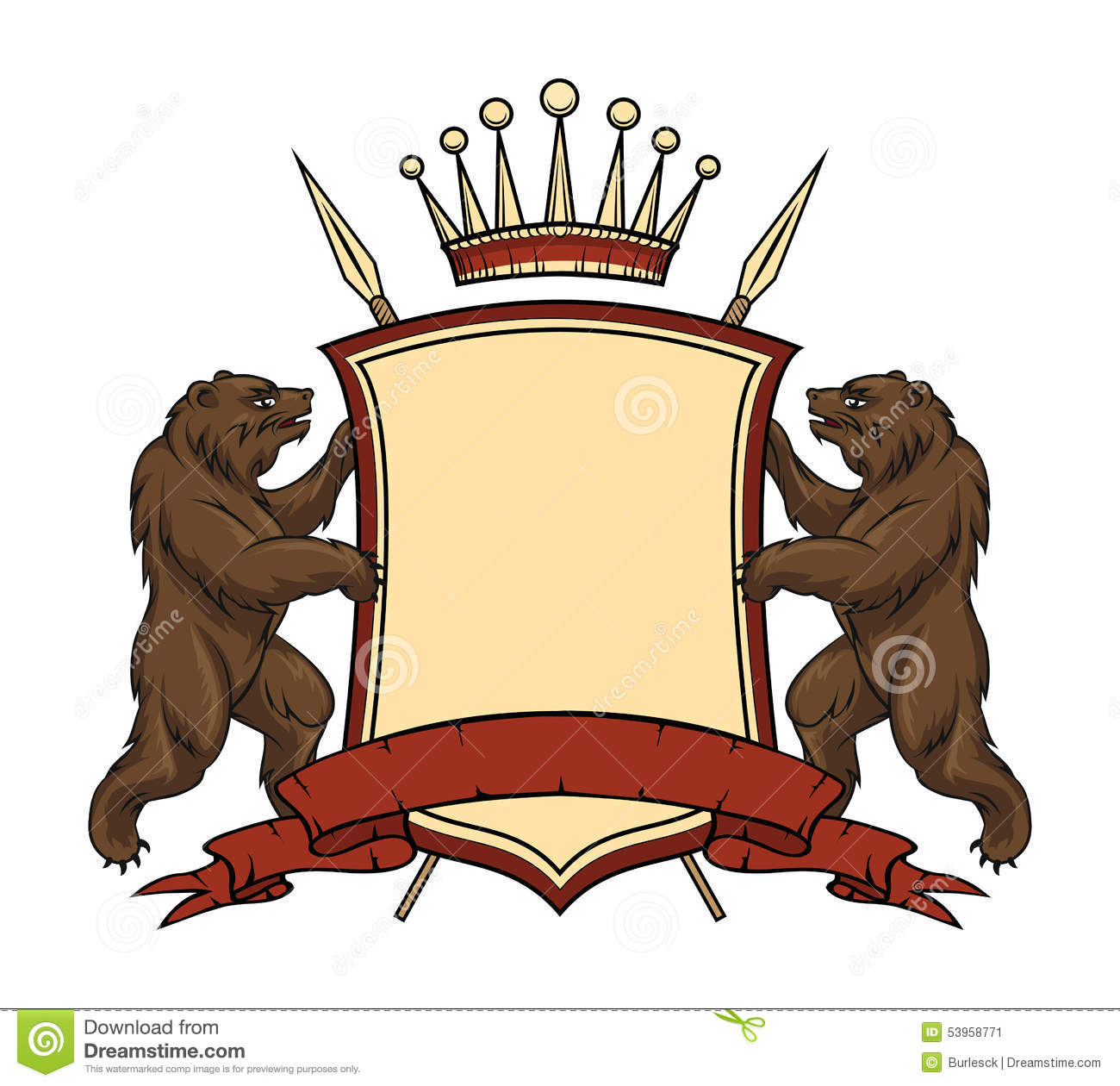 Heraldic Logo Element Bears With Shield And Stock Image