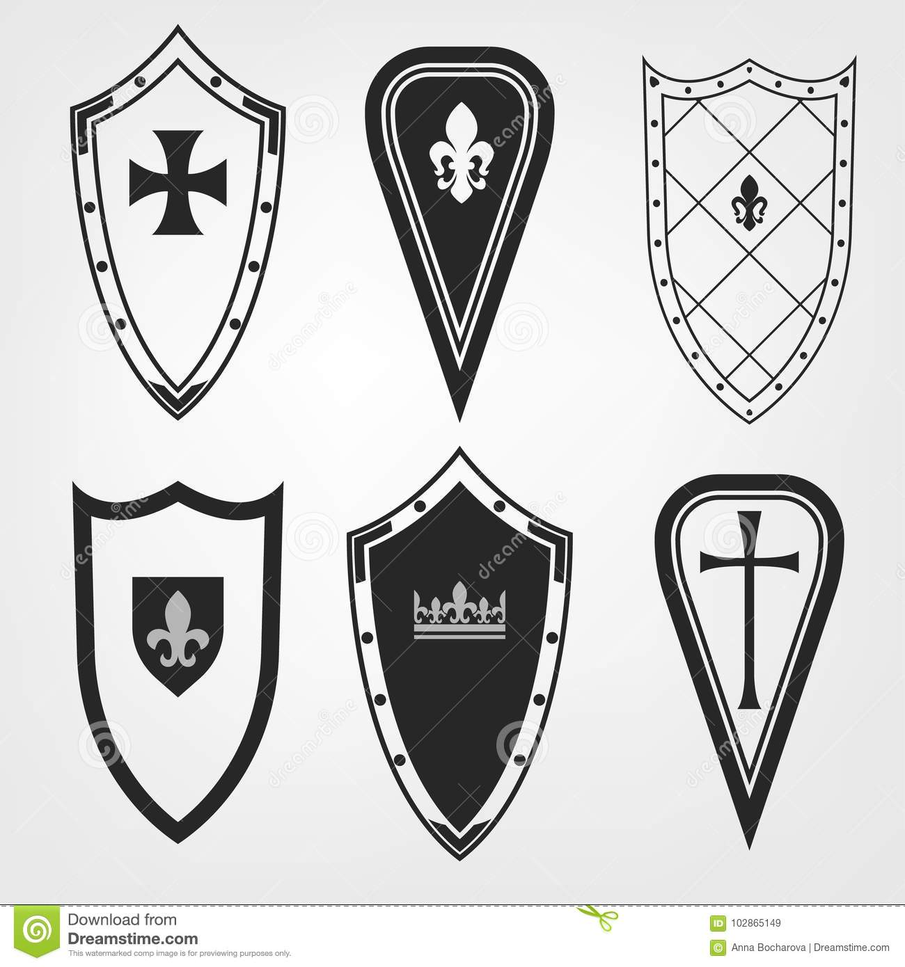 Medieval Shield Set stock vector. Illustration of emblem - 102865149