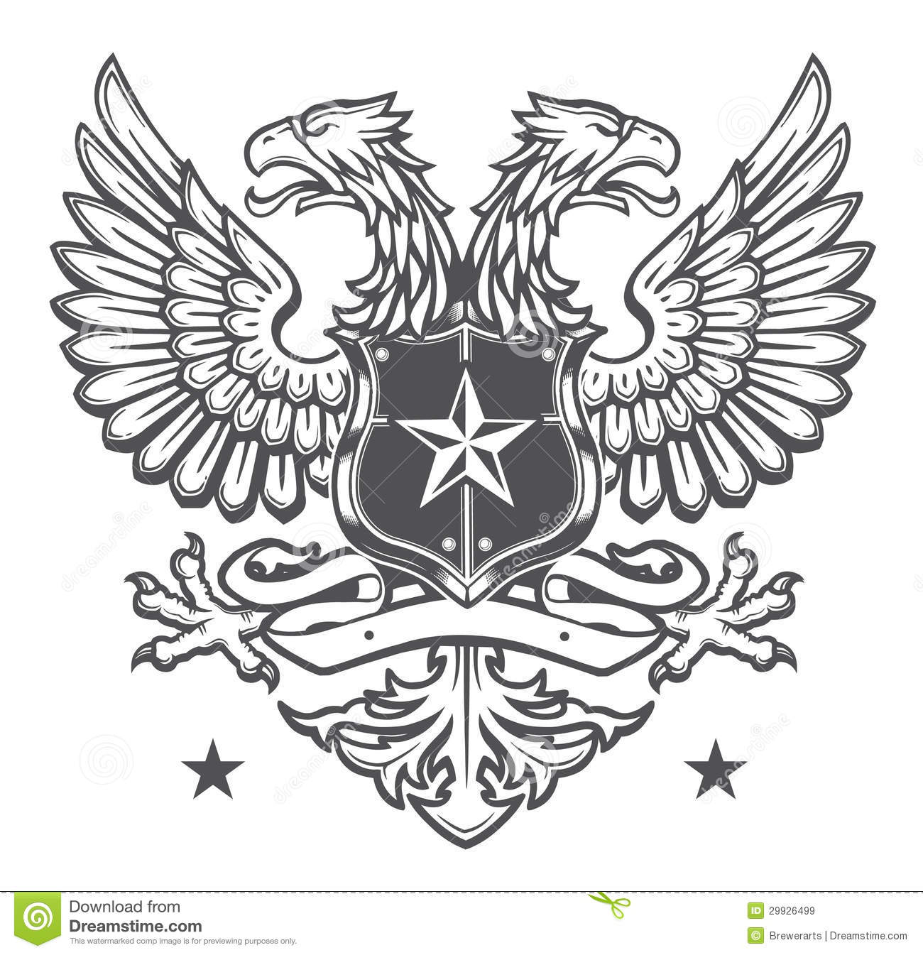 double headed heraldic eagle crest on white royalty free