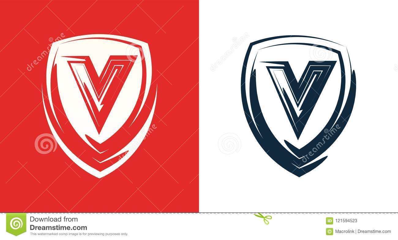 Heraldic Shield Emblem With Letter V Clipart For Company Or Club