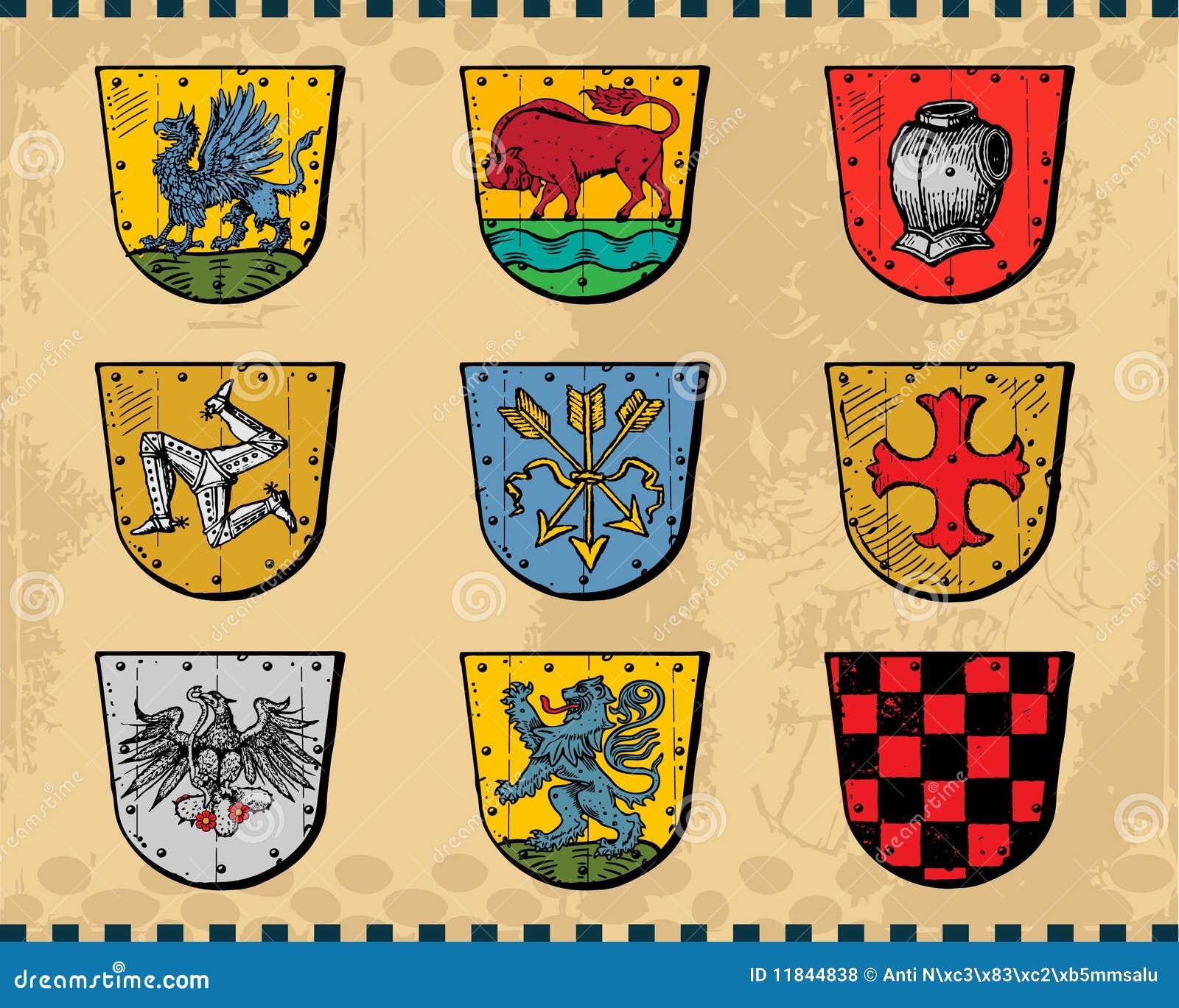 heraldic shields stock vector  image of greif  ribbon