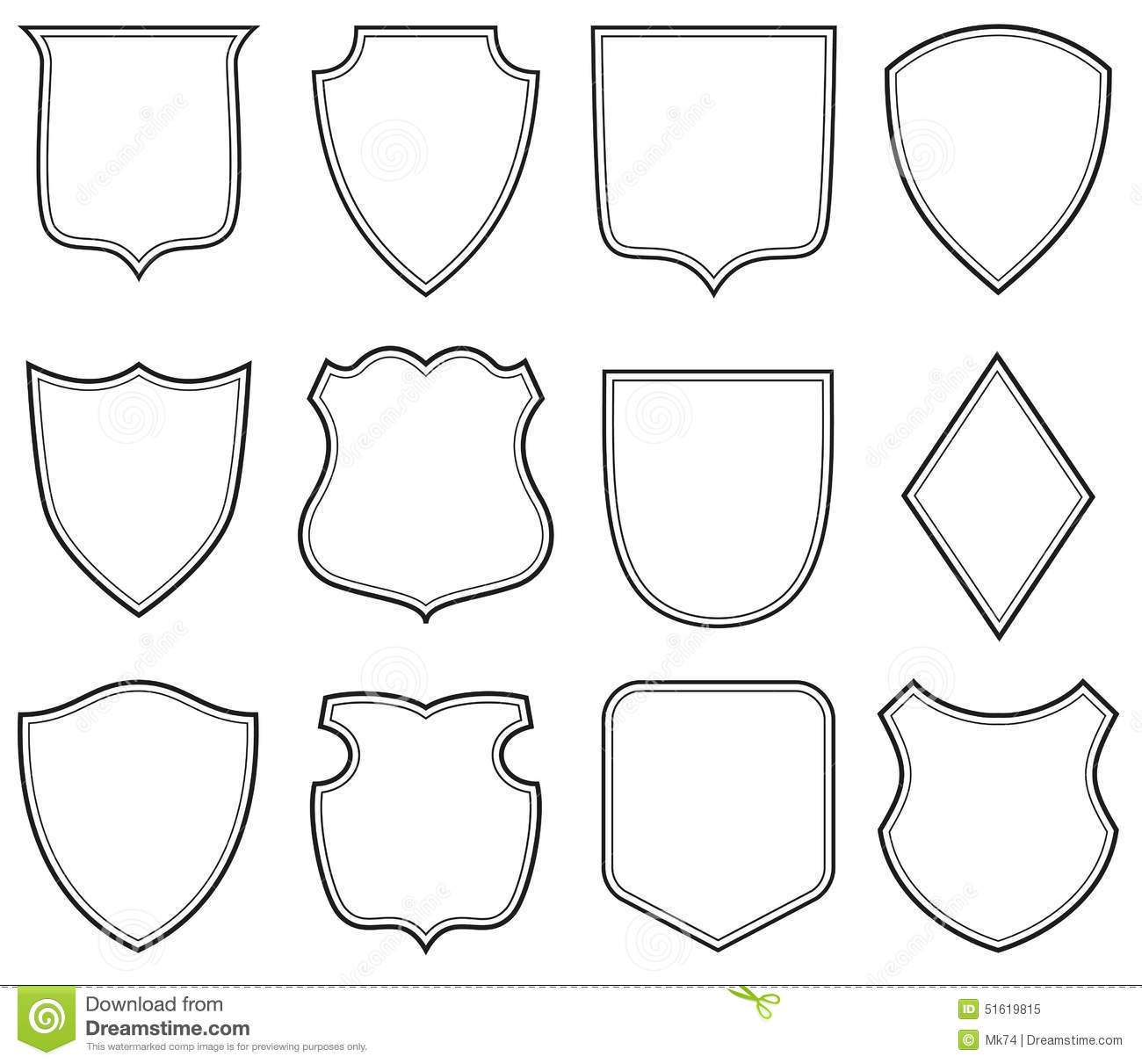 The gallery for heraldic shield shapes for Military patch template
