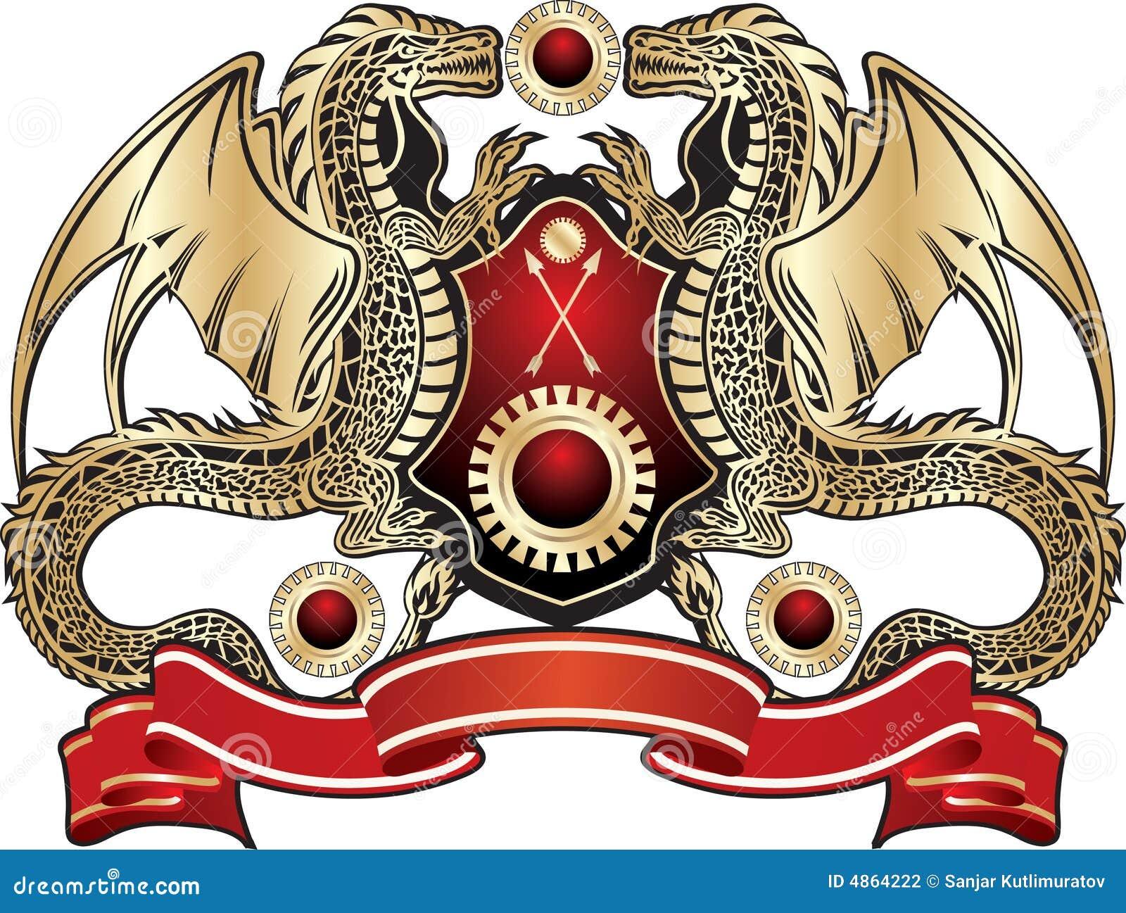 Dragon Heraldry: Heraldic Sign. Golden Dragon Stock Illustration