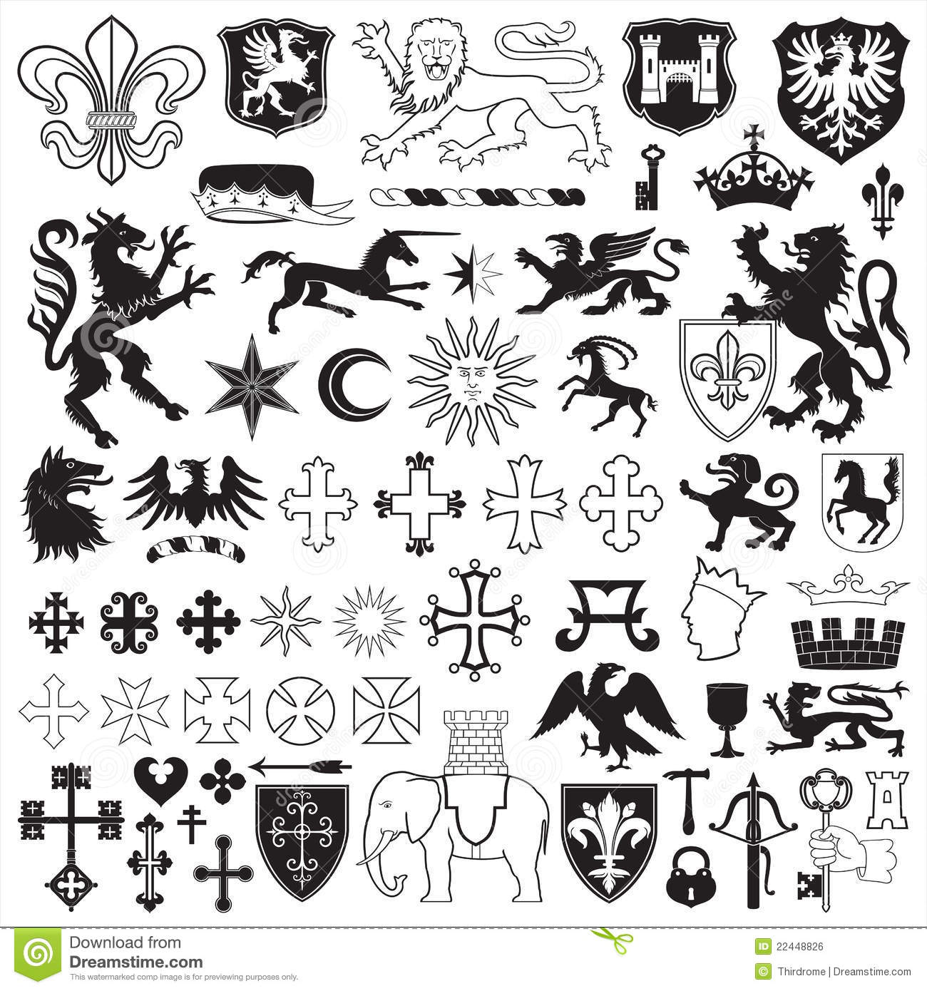 Heraldic Symbols And Crosses Royalty Free Stock Image - Image ...