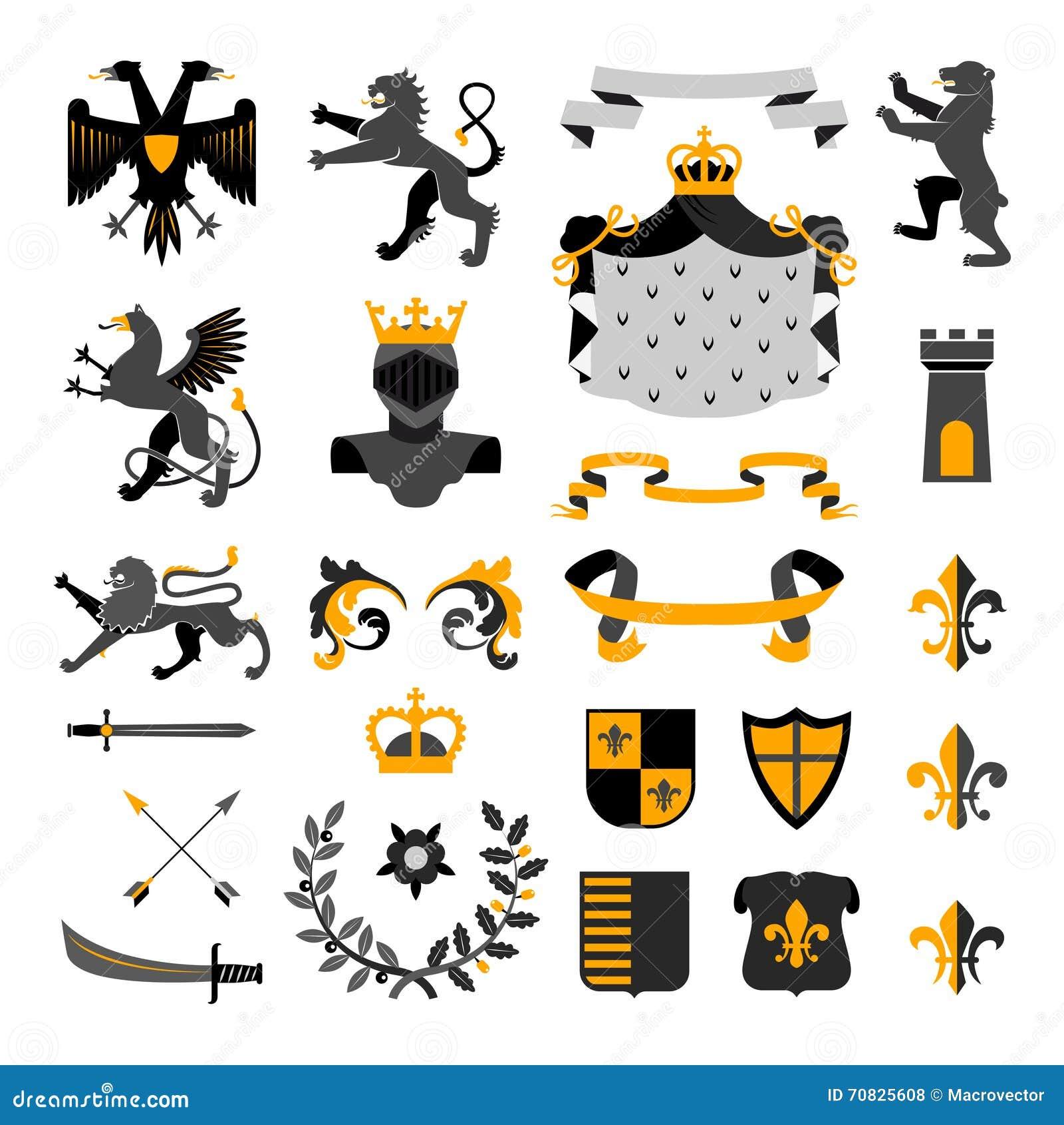 Heraldic Golden Emblems Cartoon Vector