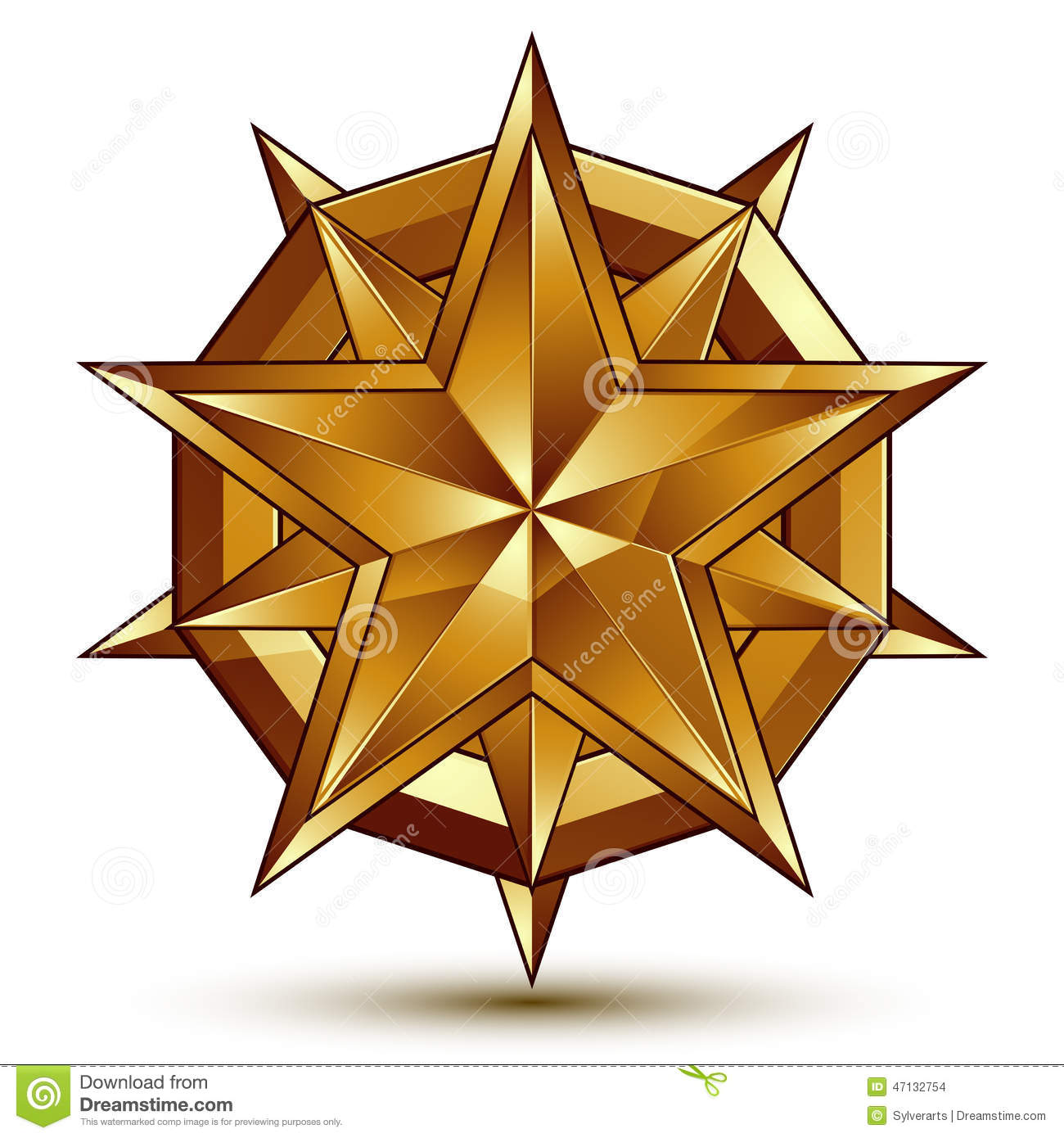 heraldic vector template with complicated golden star dimension