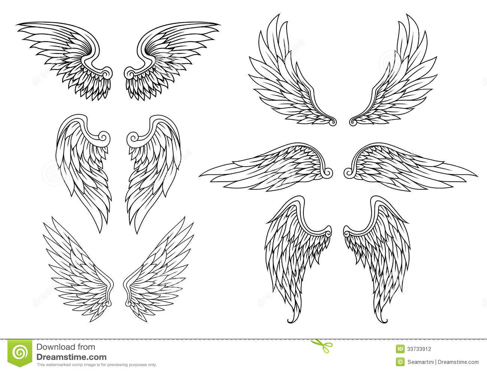 Heraldic Wings Set Stock Photography - Image: 33733912