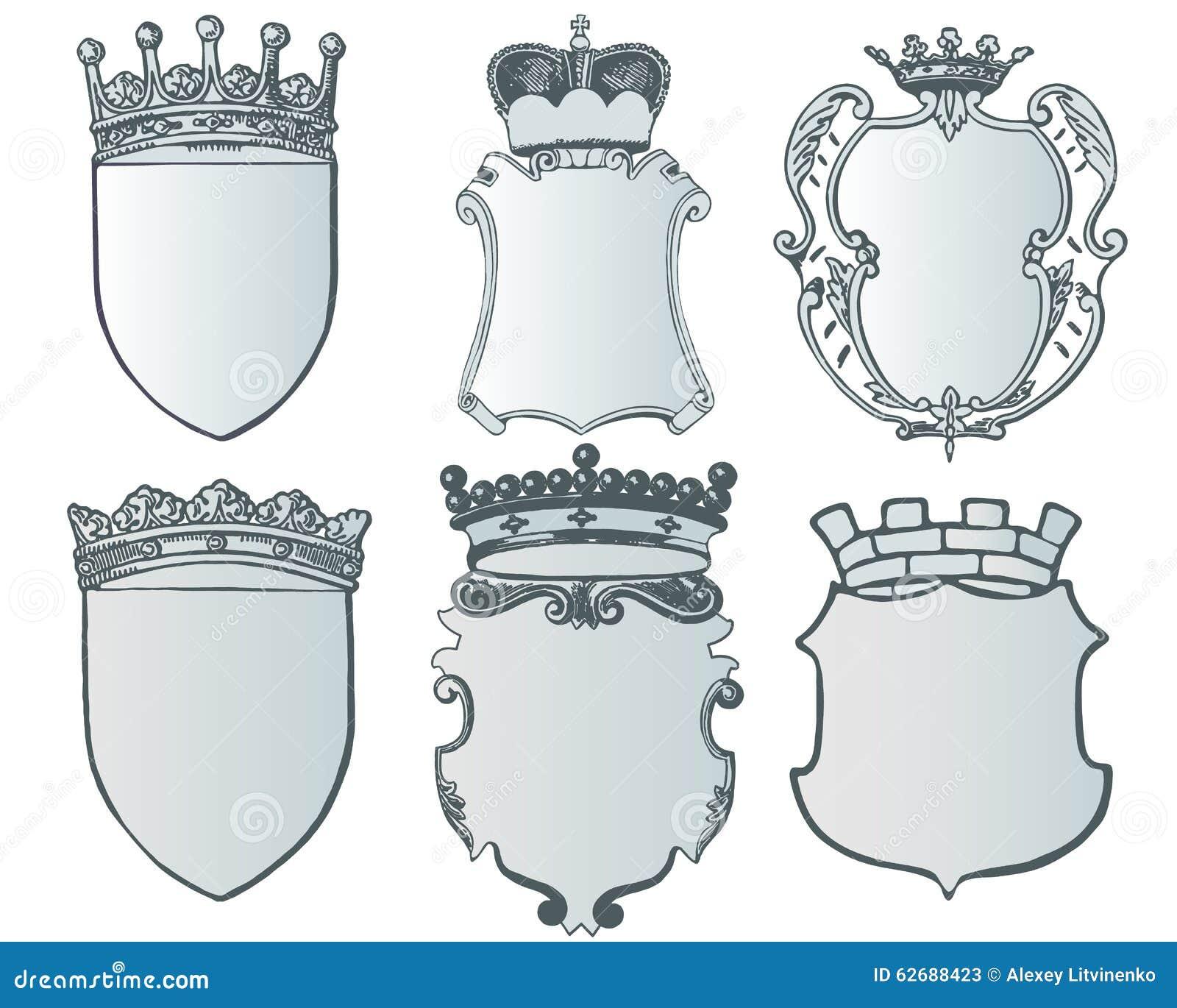 Heraldische Elementsammlung Und Wappen Schablone Vektor Abbildung ...