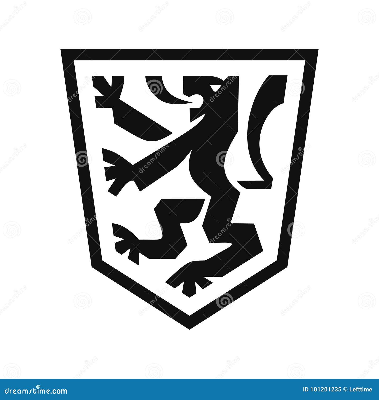 Heraldischer Löwe Auf Schild Vektor Abbildung Illustration Von