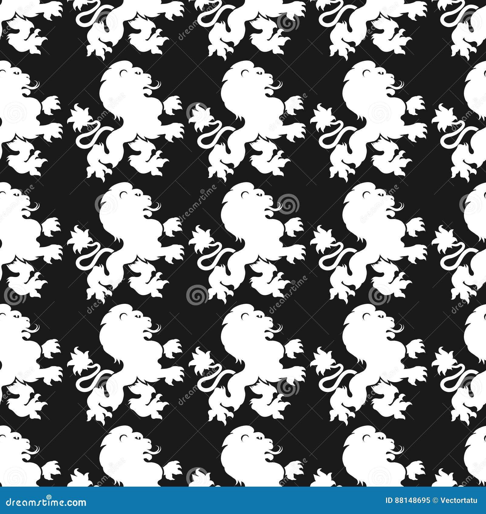 Heraldisches nahtloses Muster mit Löweschattenbild