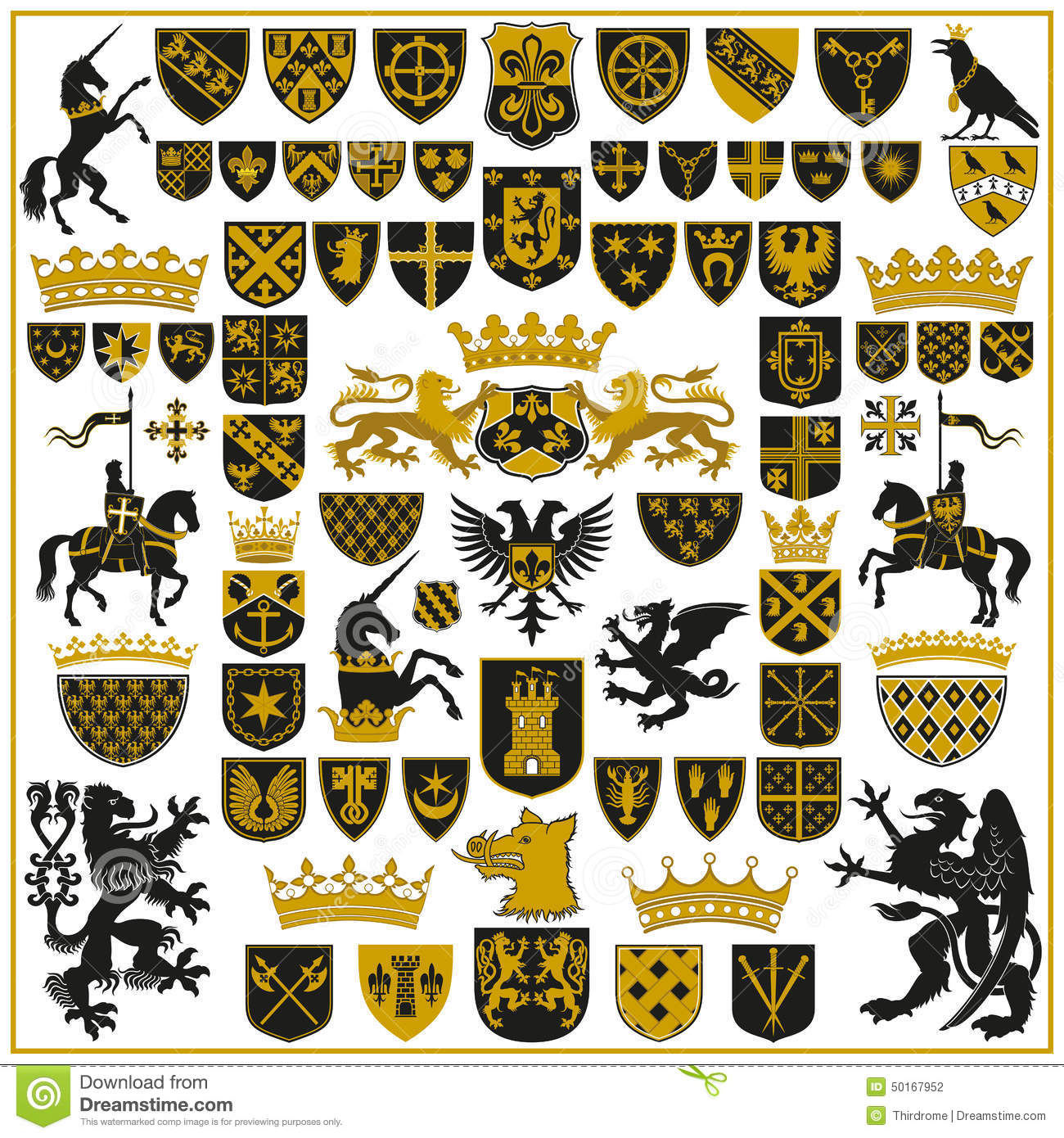 Heraldry Crests And Symbols Stock Vector Illustration Of Crests