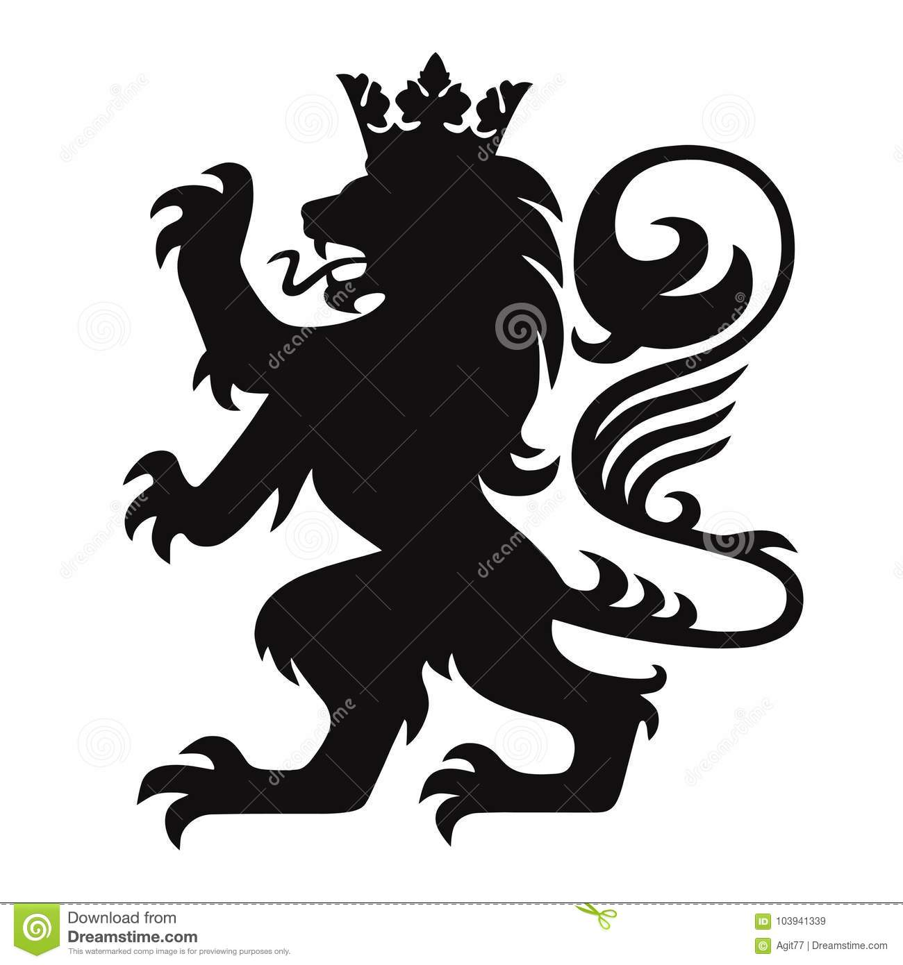 Heraldry Lion King With Crown Logo Mascot Vector