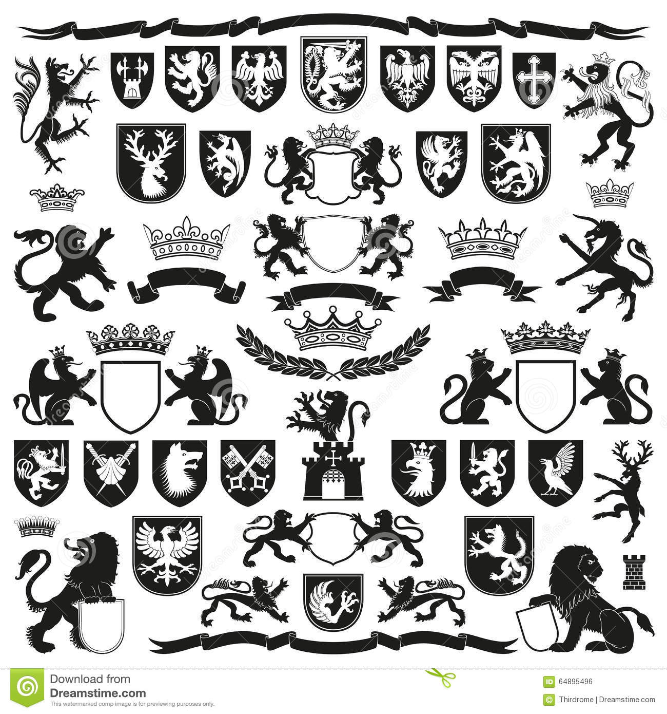 Heraldry Symbols And Decorative Elements Stock Vector Illustration