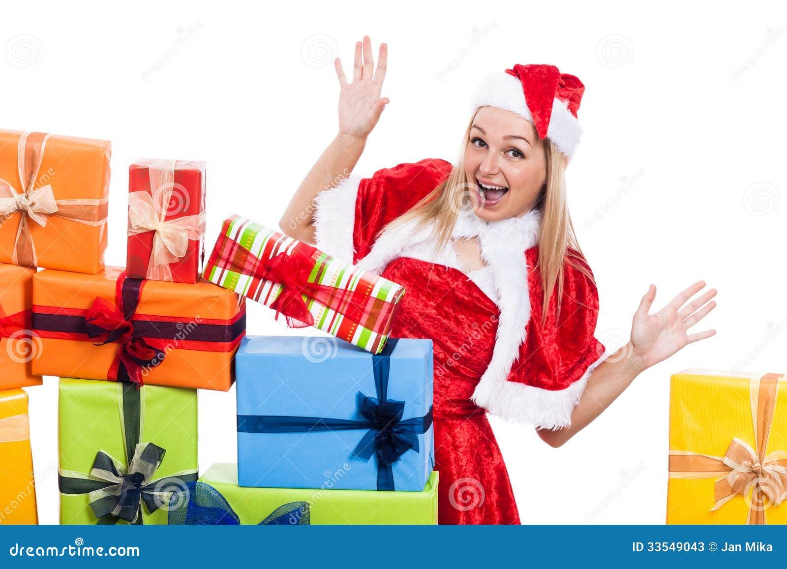 Herausgenommene Weihnachtsfrau mit Geschenken