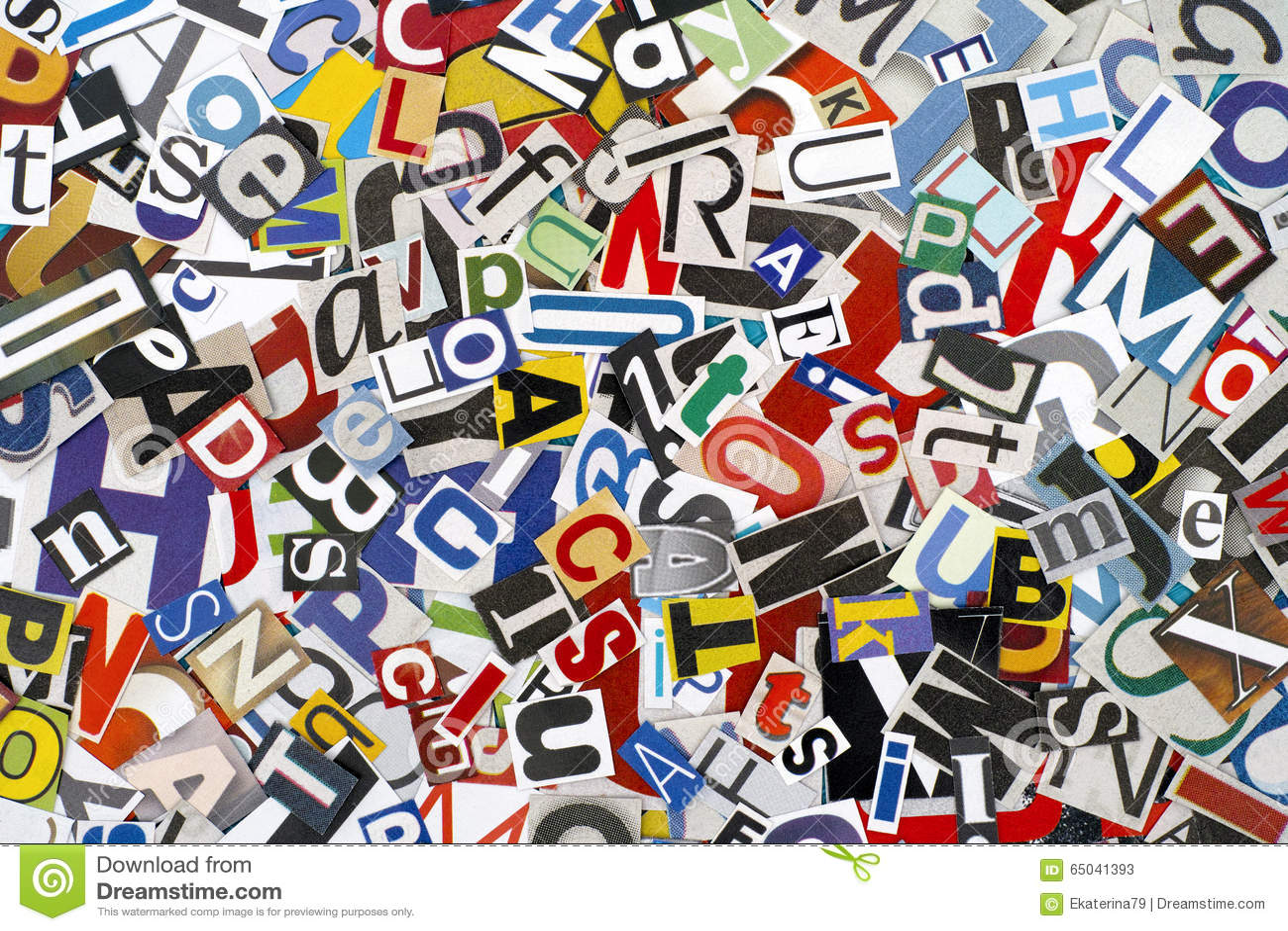 Herausgeschnittene Buchstaben