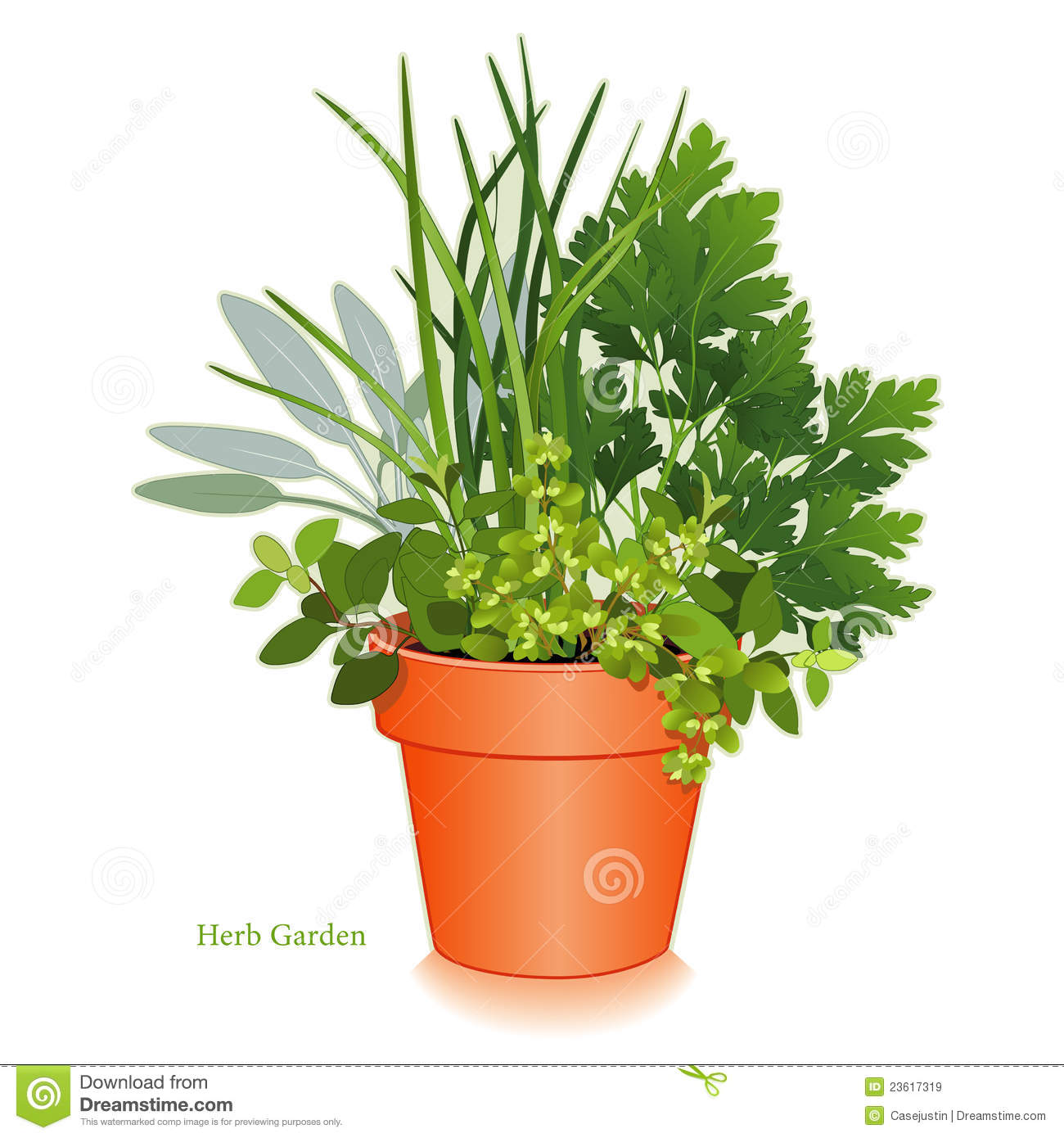 Herb Garden In Clay Flowerpot Royalty Free Stock Images