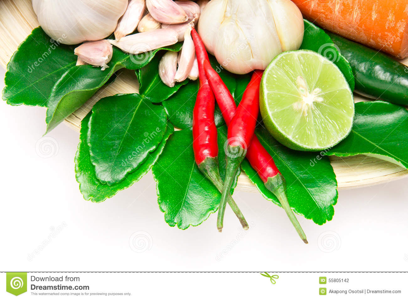 Herb and spice ingredients for asian food on white for Asian cuisine ingredients