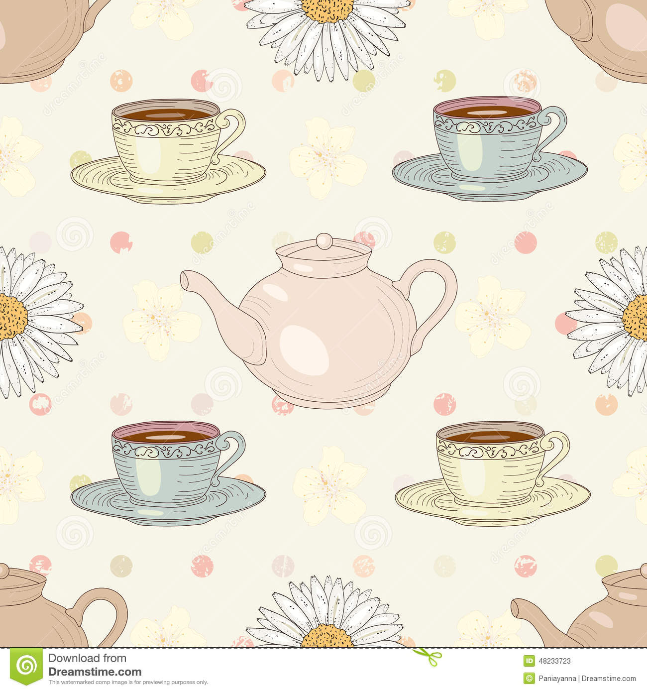 Herbal Chamomile Tea Party Seamless Pattern Stock Vector