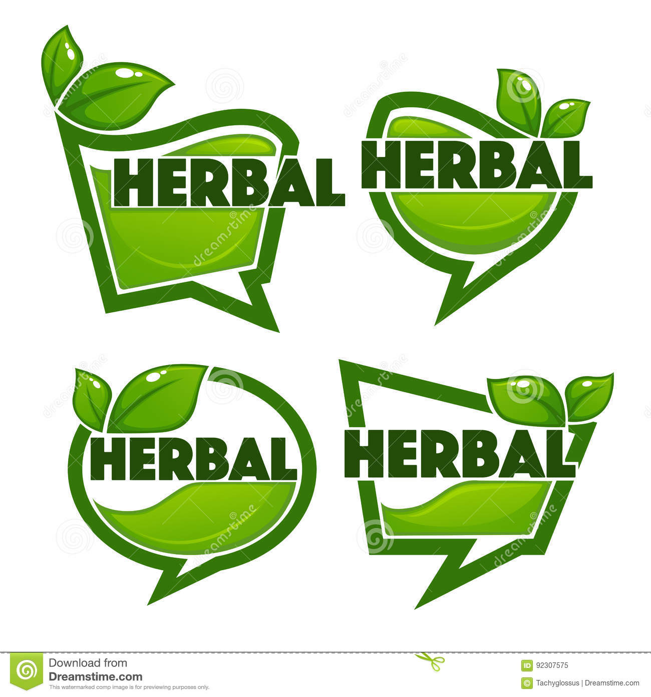 Herbal Drinks Vector Collection Stock Vector - Illustration