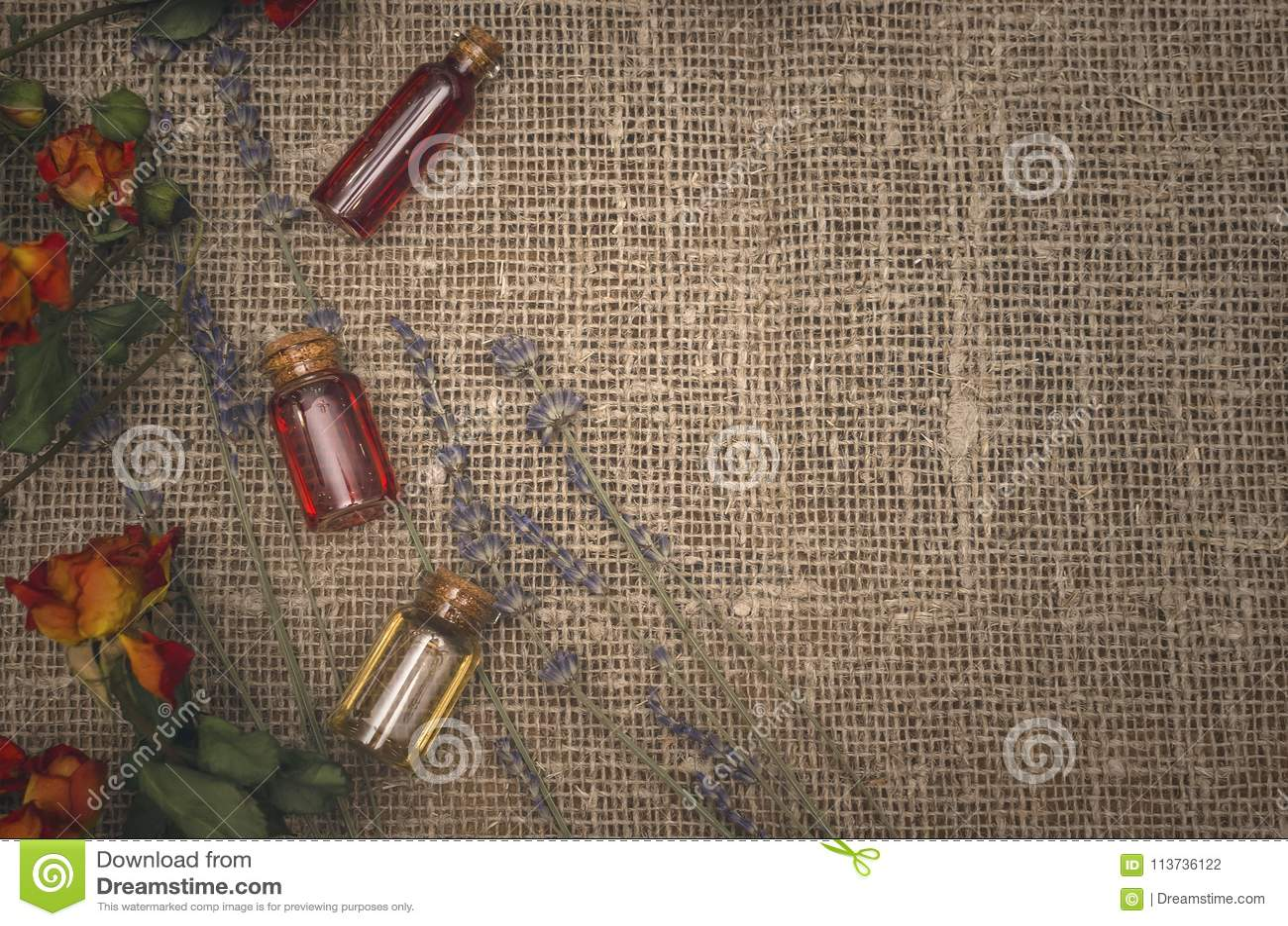 Herbal medicine. Alternative medicine. Essential oil tincture bottles.
