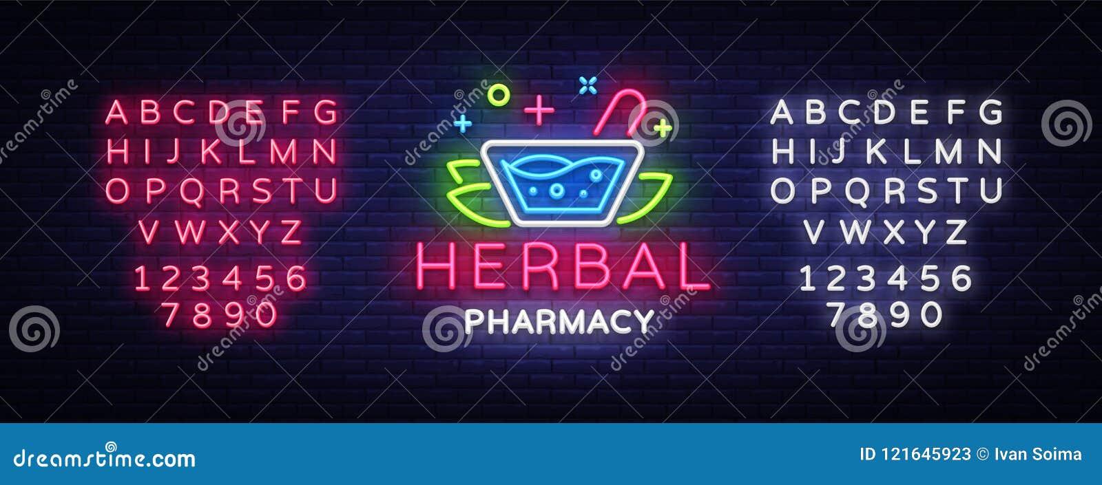 herbal pharmacy neon sign vector pharmacy design template neon sign