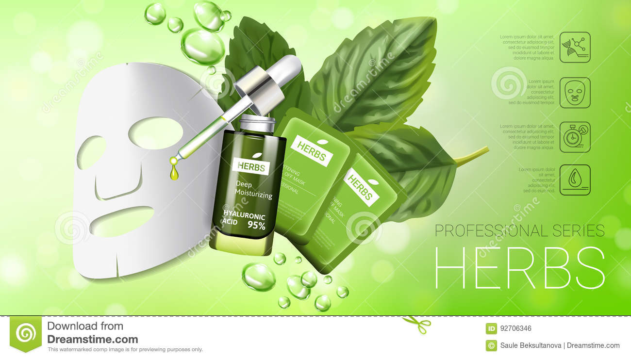 Herbal Skin Care Mask Ads  Vector Illustration With Herbal