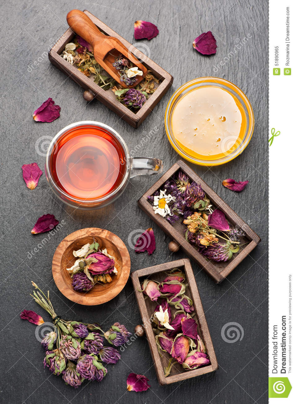 Herbal tea, dried herbs and flowers
