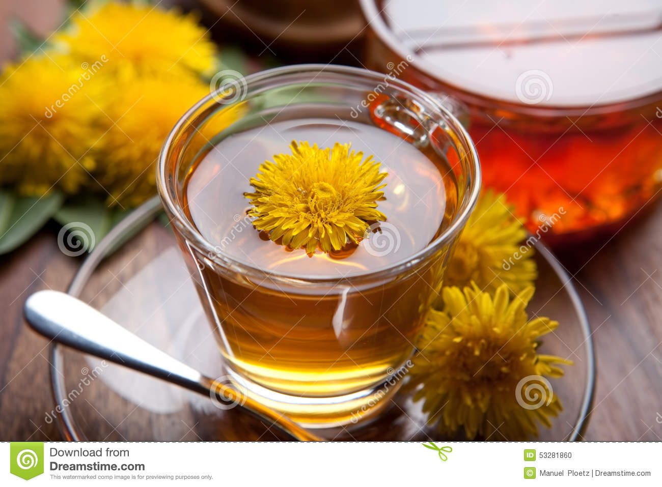Download Herbal Tea And Honey Made Of Dandelion With Yellow Blossom On Wooden Table Stock Photo - Image of green, aromatherapy: 53281860