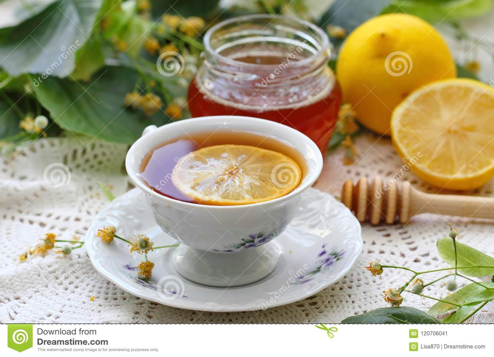 Herbal tea with linden flowers, honey and lemon