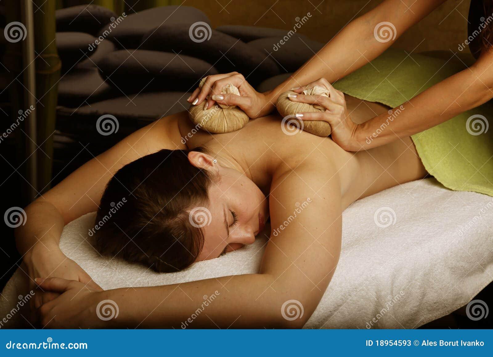 Woman having herbal message