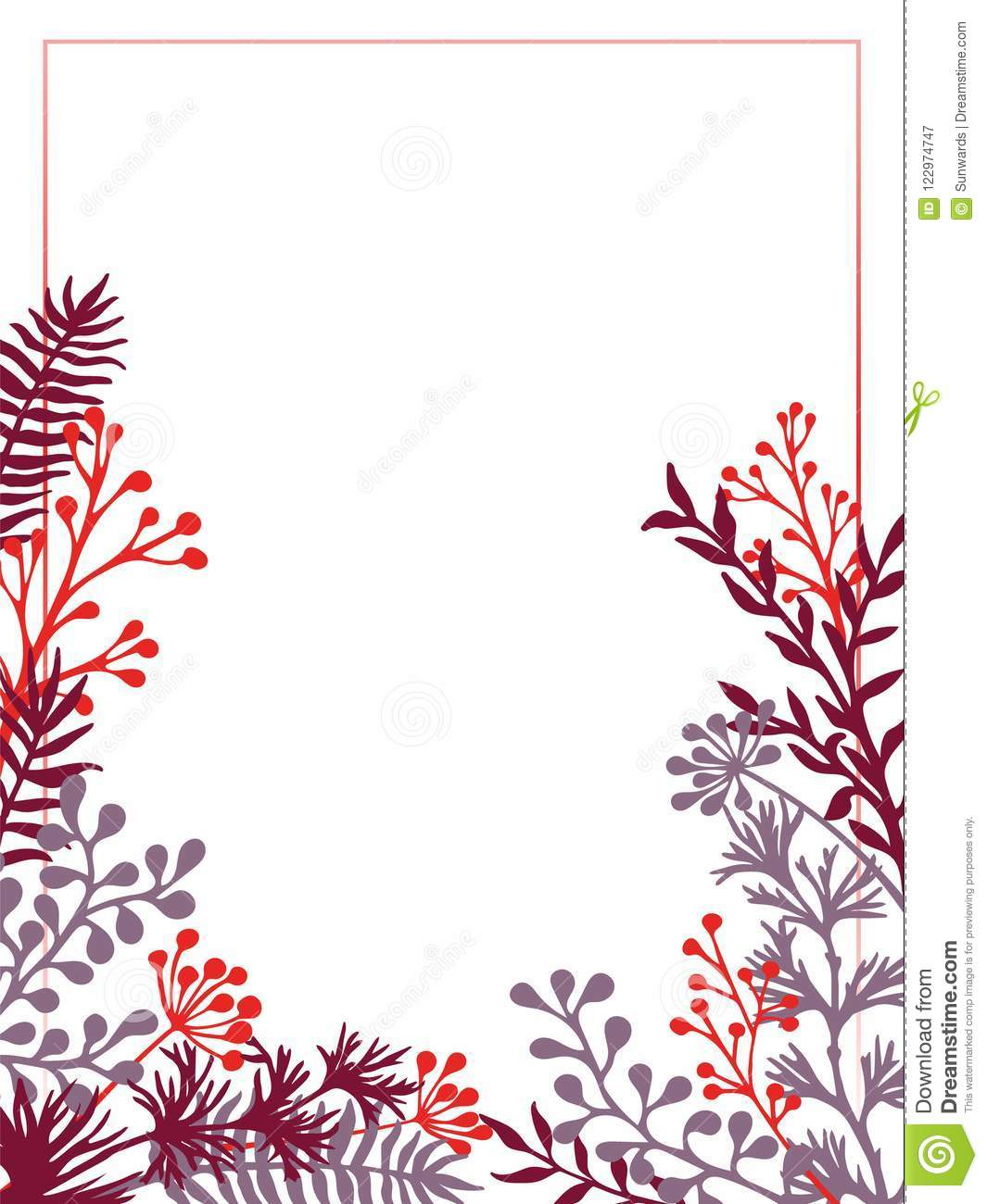 Herbal Twigs And Branches Border Vector Invitation Card Stock