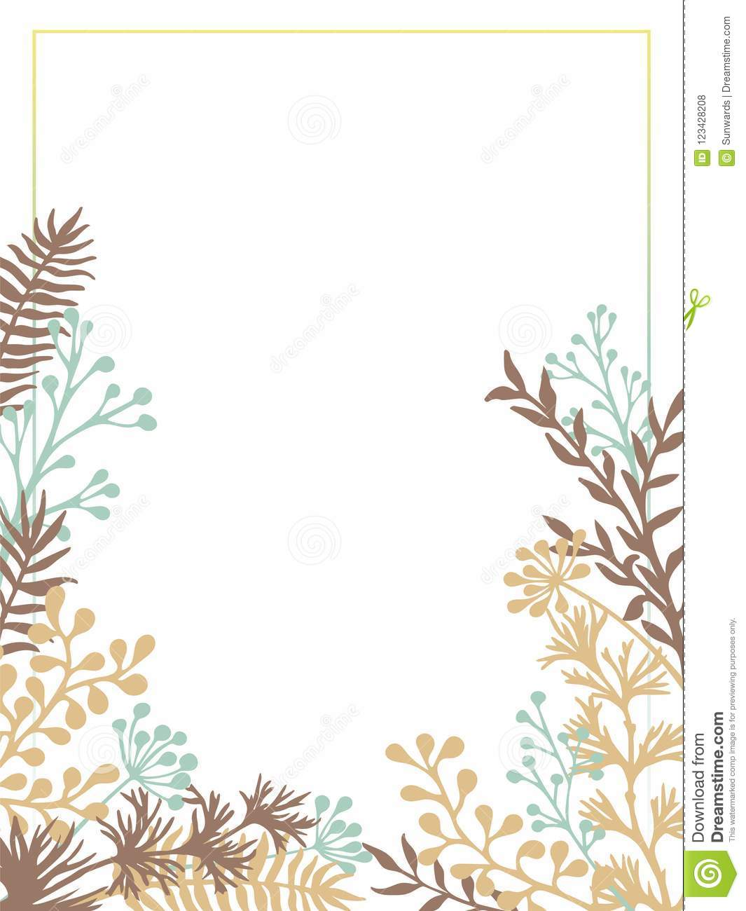 Herbal Twigs And Branches Border Vector Invitation Card