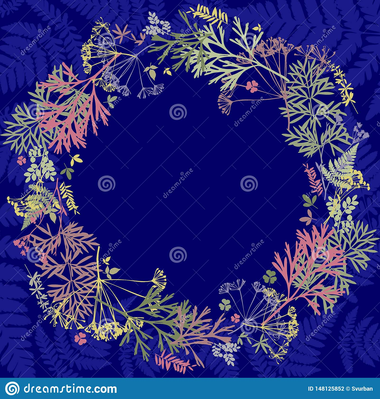 Herbarium with wildflowers, branches, leaves in a circle. Botany on a blue background, greeting card, wreath