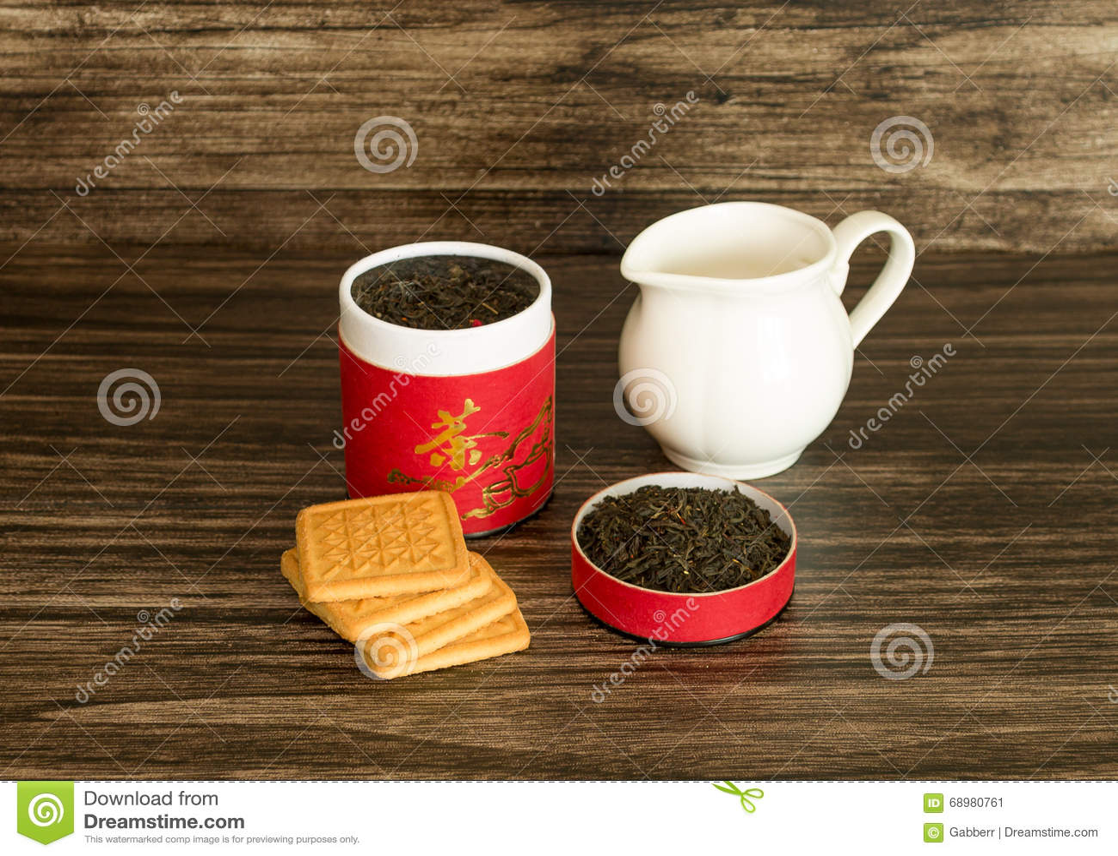 Herbata, ciastka i słój,