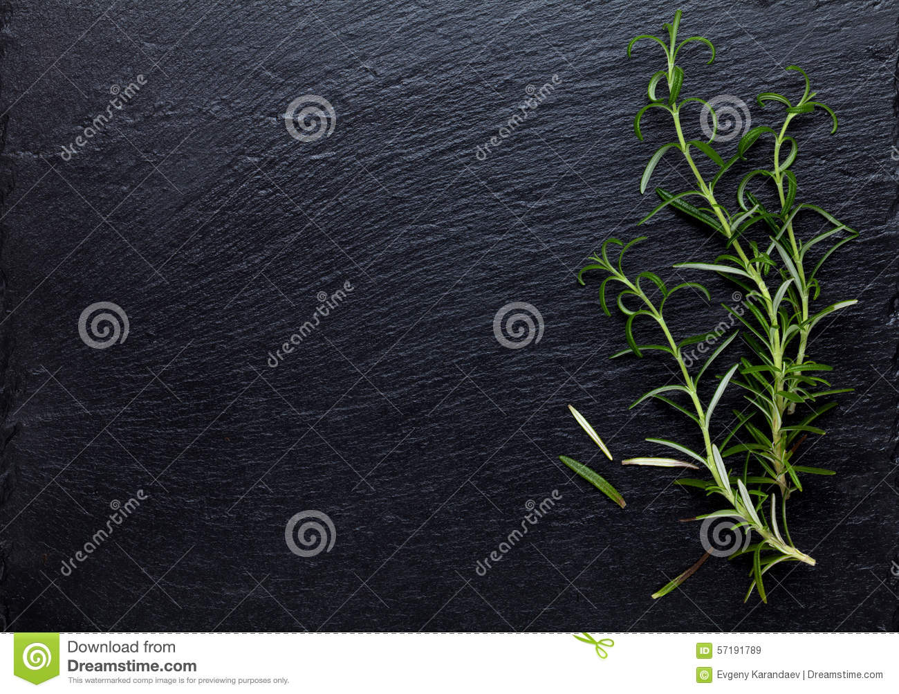 Herbe de Rosemary sur la table en pierre