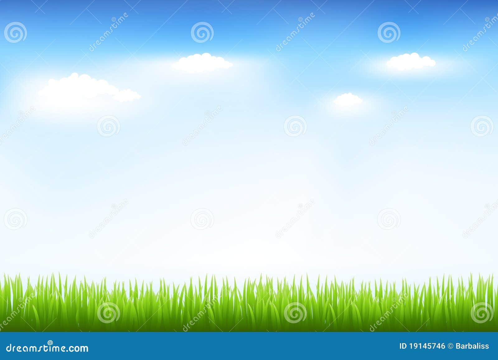 Herbe verte et ciel bleu illustration de vecteur ...