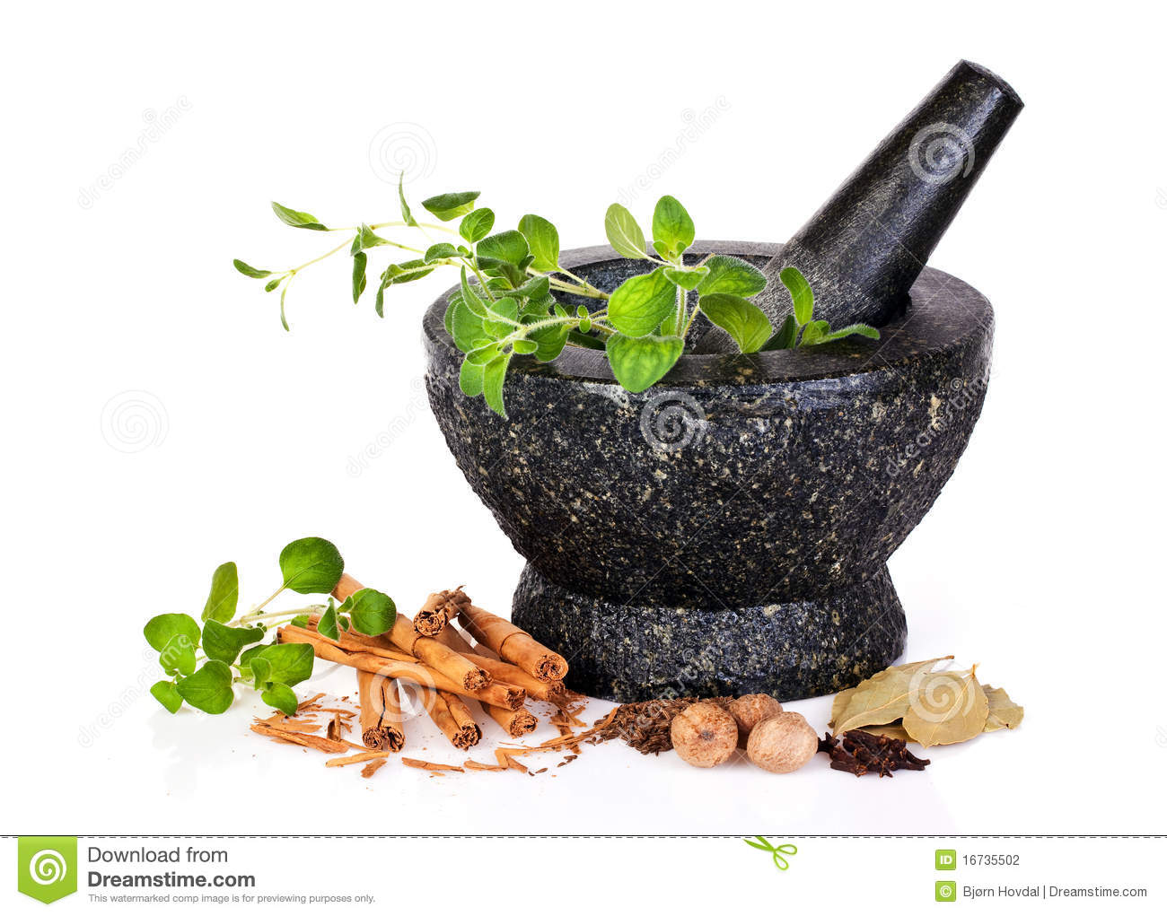 Herbs with mortar