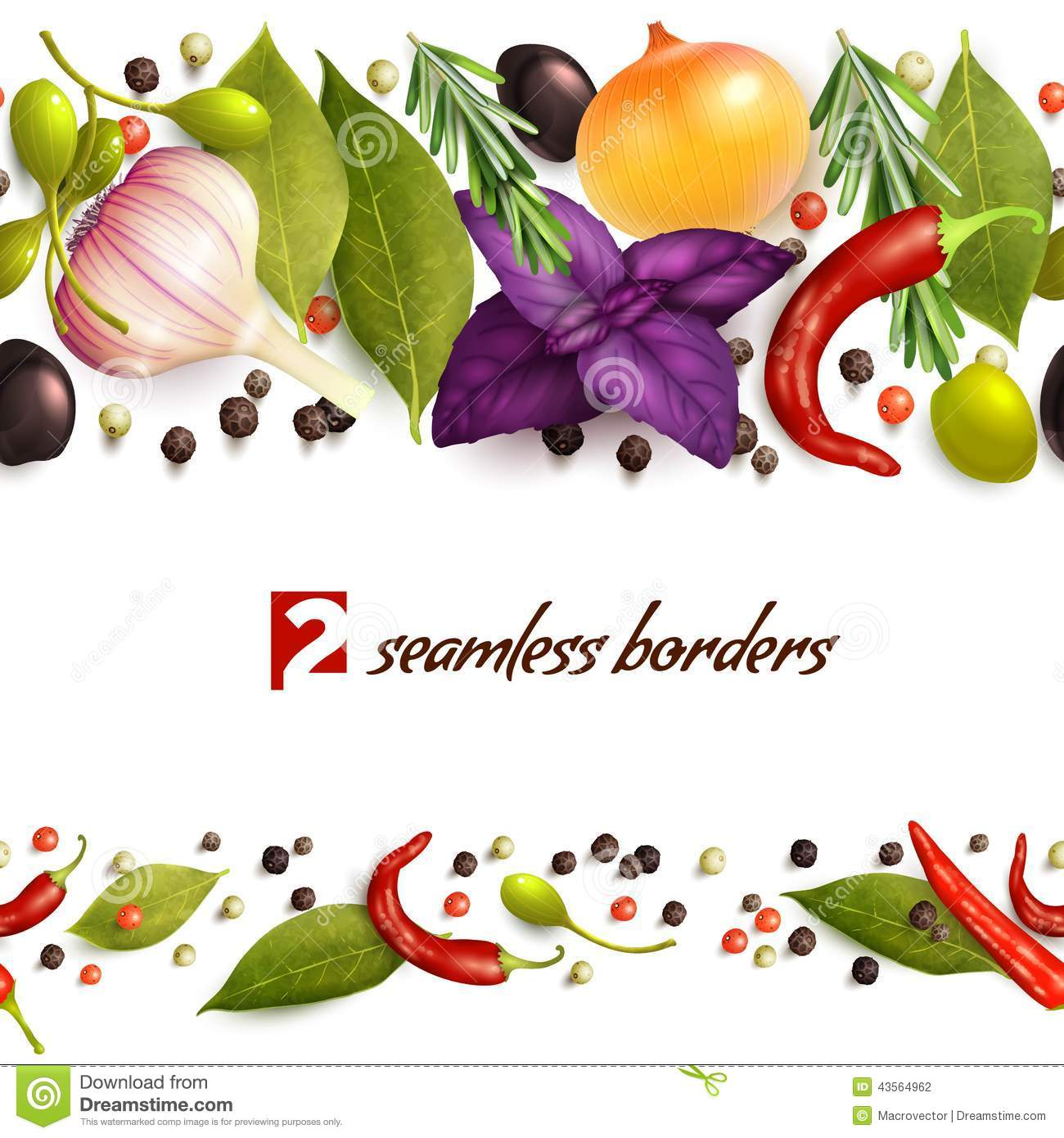 Realistic herbs and spices decorative seamless pattern borders vector ...