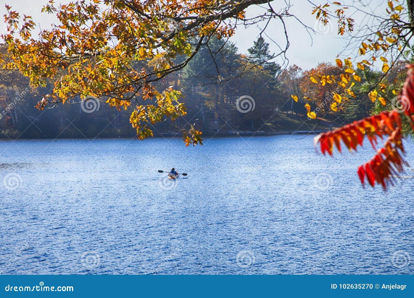 Herbst auf Muskoka Seen, Kanada Kanufahrer, der einen Ca schaufelt