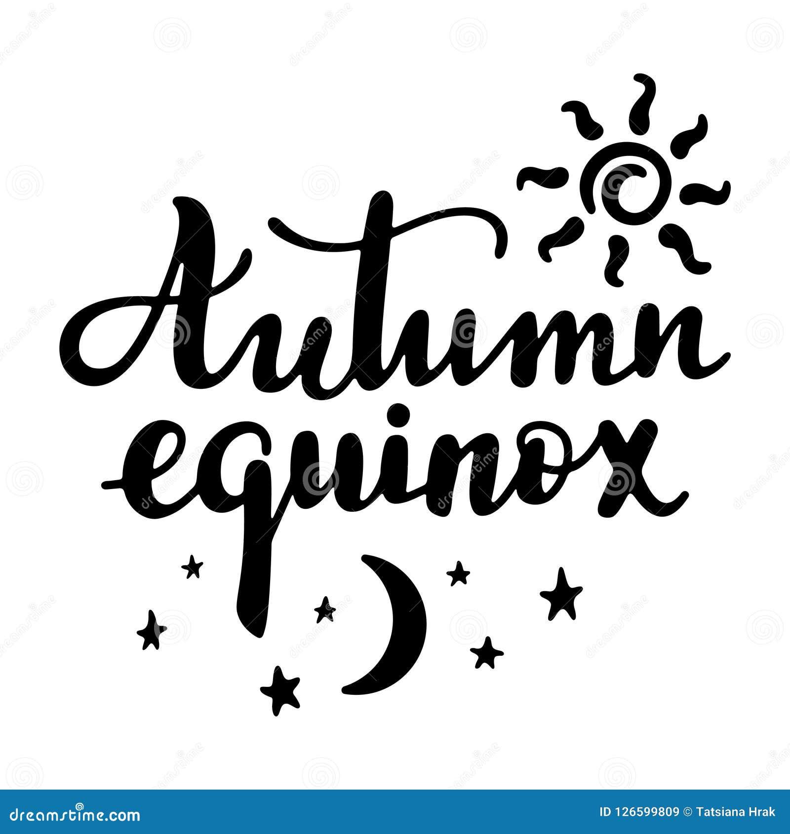 Herbst-Tag-und-Nacht-Gleiche - handgeschriebenes Beschriftungszitat