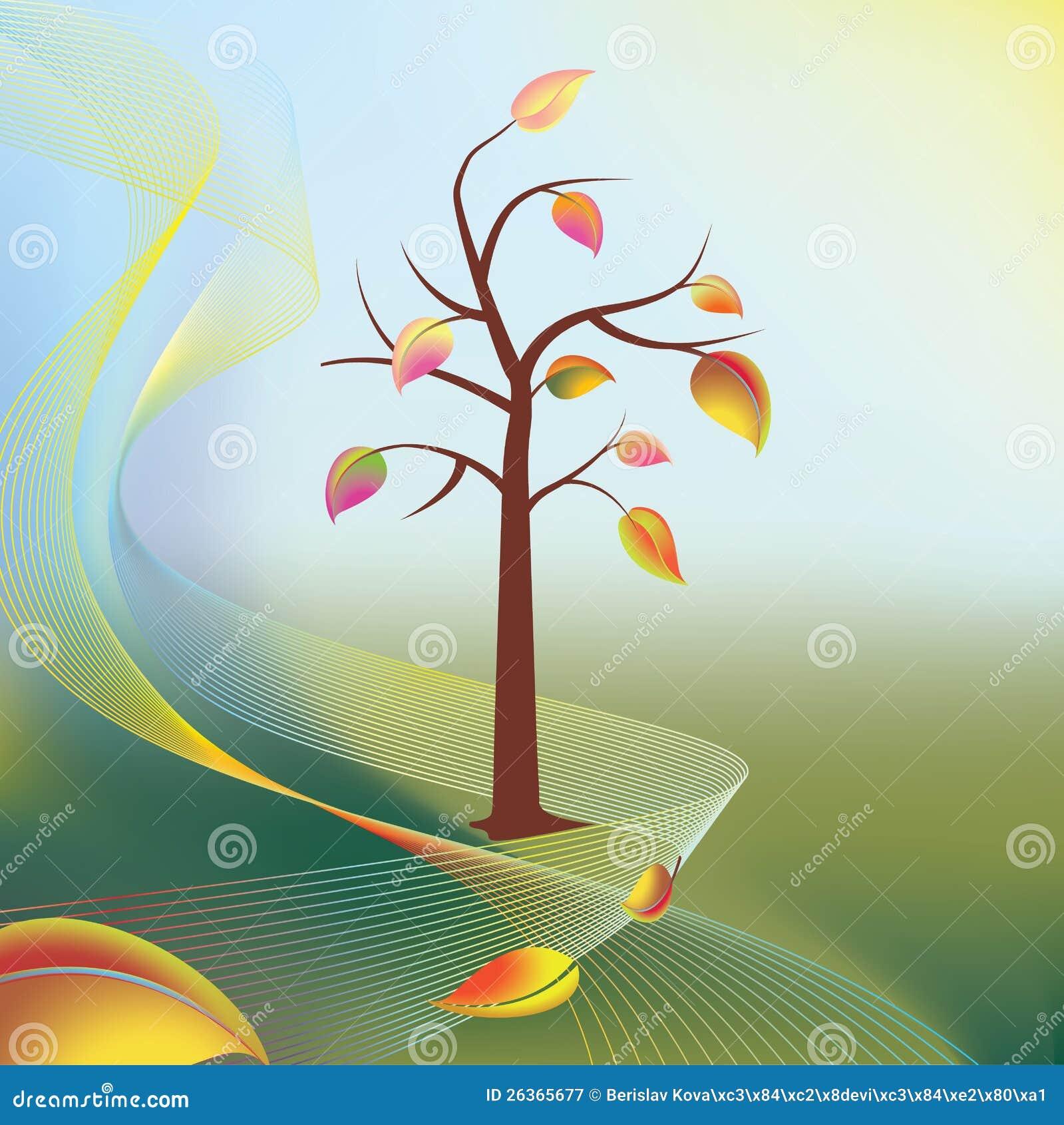 Herbstbaum und -blatt auf Wind in den hellen sonnigen Strahlen