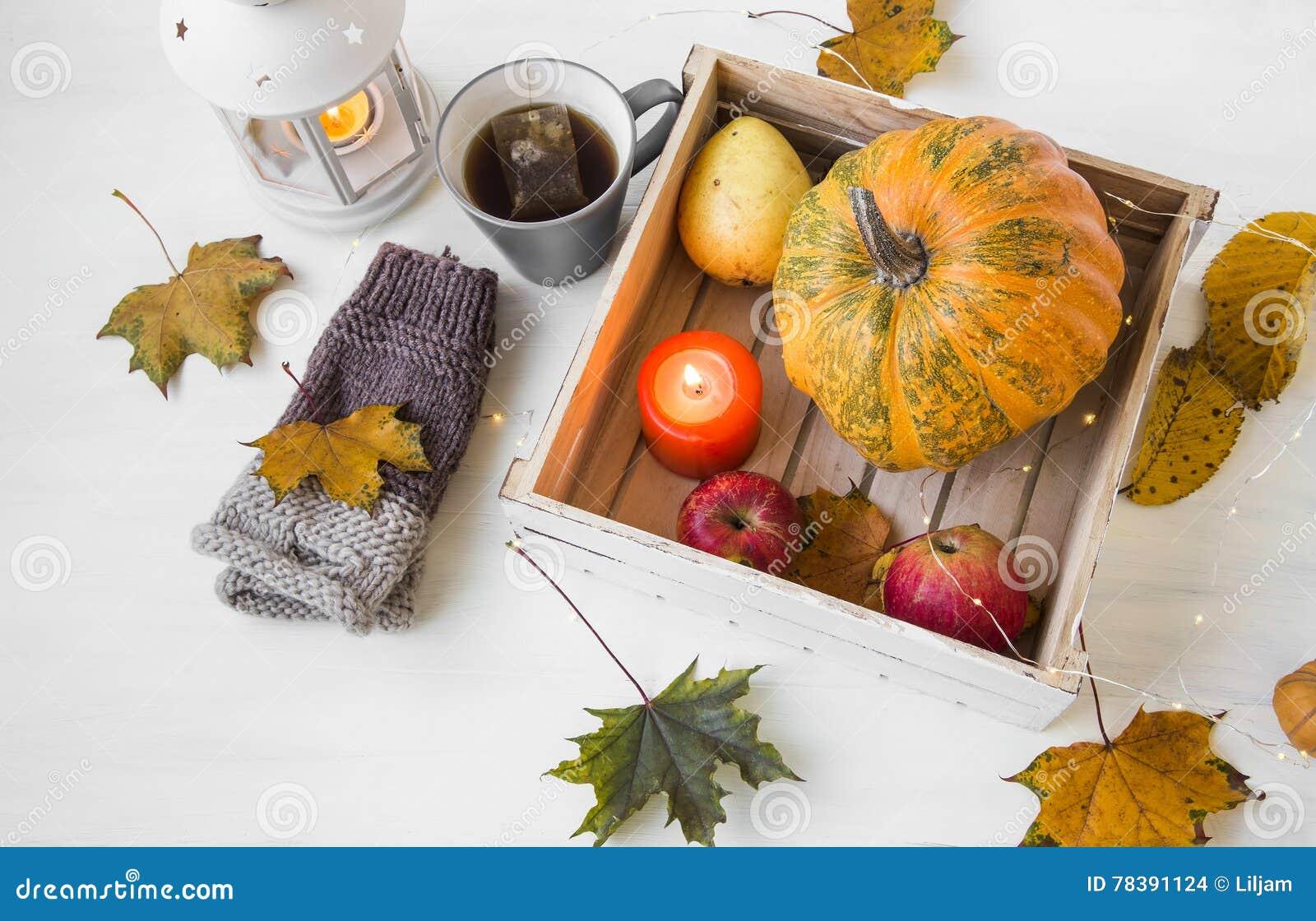Herbstdekor Mit Kerze Kurbis Laterne Tasse Tee Und Fall Stockfoto Bild Von Kerze Kurbis 78391124